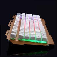 烽火狼K12金属合金游戏键盘悬浮式键帽呼吸灯发光多媒体功能按键