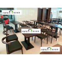上海复旦大学食堂桌椅 现代HL-18实木餐桌椅定制 韩尔简约现代品牌