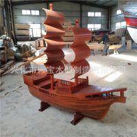 厂家供应仿古木船 景观船 旅游装饰船红杉手工木船