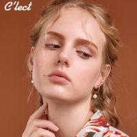 c'lect原创欧美简约珍珠耳环几何方形 左右不对称耳环 韩版时尚