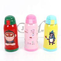 韩版卡通儿童吸管保温杯创意带盖不锈钢水壶便携式户外宝宝水壶