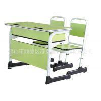 现代中式双人位课桌椅_两人位课桌价格_优质钢制学生桌椅定制批发工厂
