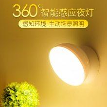 批发360°旋转人体感应小夜灯照明灯led节能灯红外感应橱柜灯出口