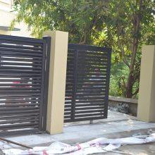 深圳别墅铝艺大门电动铝合金院子围墙花园门庭院铸铝户外对开花园大门