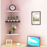 墙角置物架卧室装饰免打孔隔板挂墙三角书架墙壁扇形厨房壁挂木板