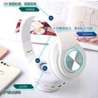 头戴式无线发光蓝牙耳机5.0超长待机重低音插卡通用折叠私模耳机