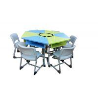 佛山港文家具简约现代六边形桌椅|百变拼桌|梯形课桌椅加工定制欢迎选购