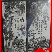 寺庙梅兰竹菊线雕石雕 石材平面线雕图片
