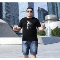 夏季男士胖子短袖t恤 加肥加大码宽松休闲衫 圆领字母印花上衣