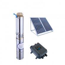 禹君不锈钢变频太阳能直流泵24V/48V/72V扬程0-120米流量1-3方/时无刷深井3寸含板