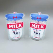 定做牛奶饮料自立自封袋 手摇奶茶吸嘴袋磨砂异形果汁袋250ml假吸嘴包装袋