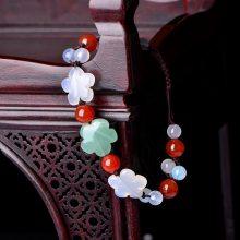 云南民族风玛瑙手链女 复古风编织手绳波西米亚个性饰品手串