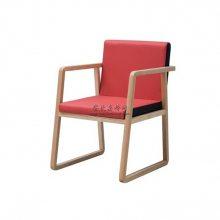 陆丰市会所酒店家具定制极简实木扶手椅子