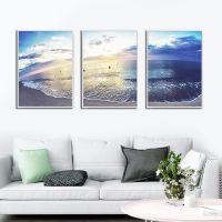 现代简约客厅风景装饰画卧室壁画沙发背景墙挂画三联画大气海墙