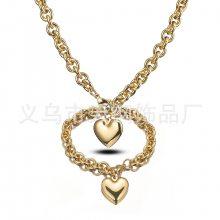 情人节礼物欧美女士金色钛钢不锈钢O形镂空心形配件项链手链套装