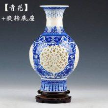 景德镇陶瓷器新时尚薄胎镂空花瓶 创意客厅装饰礼品