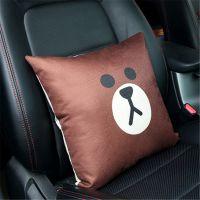 汽车亚麻抱枕靠枕车用头枕骨头枕靠车内抱枕保健枕车用护颈枕单个