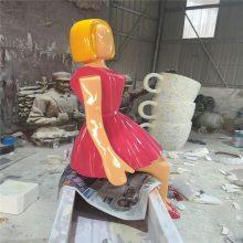 广州步行街人物雕塑 购物主题玻璃钢人物雕塑 人物场景雕塑 恒创雕塑
