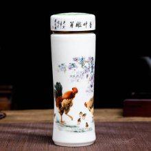 礼品定制景德镇多图案陶瓷保温杯 双层内胆茶杯 陶瓷青花瓷办公杯