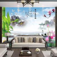 中式山水风景大型壁画客厅沙发餐厅墙纸电视背景墙纸壁纸荷花墙布