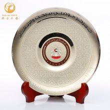 外贸品质纪念牌,中外交流会议礼品,专业制作纯铜英文奖盘