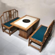 中式实木火锅桌,大理石实木框火锅台,中高档火锅桌椅定做厂家