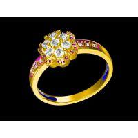 925纯银镀金镶嵌黄水晶情侣戒指批发 个性戒指 男 潮 —宝石饰品