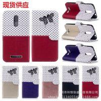 红米3S黑蝴蝶波点撞色皮套 红米NOTE3插卡支架钱包式手机保护套壳