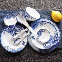 景德镇56头青花釉中家用碗盘 玲珑牡丹中式餐具套装 送礼佳品