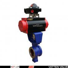 气动V型对夹球阀,单作用弹簧复位式气缸,上海法登阀门
