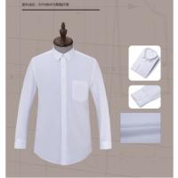 泉州修身纯棉男士衬衫定制南安青年休闲工作服翻领纯色开衫白色L码