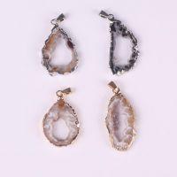天然水晶晶洞玛瑙片吊坠 Druzy Pendant  镂空晶洞玛瑙吊坠