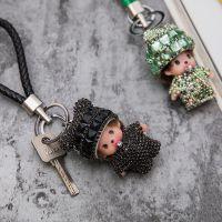 DY-139带钻熊猫蒙奇奇钥匙扣镶钻创意汽车挂件水钻包包挂饰小礼物