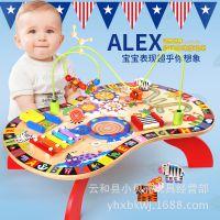 婴幼儿童木质大号绕珠手敲琴鼓玩具 宝宝1-3岁早教启蒙益智力玩具