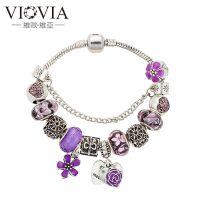 母亲节礼物紫色桃心花Mother吊坠手链eBay爆款大孔琉璃串珠手链