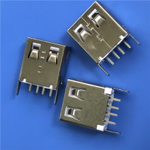 立式插板 USB母座 180度立式直插DIP 4P直立式 两脚插板 连接器