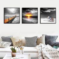 现代客厅黑白风景装饰画卧室玄关挂画沙发背景壁画墙画