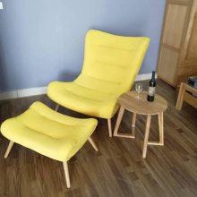 进口白橡木实木沙发厂家 休闲沙发 轻奢网红沙发 蜗牛沙发+脚凳