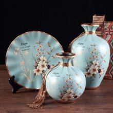 美式花瓶博古架家居摆件 干花花瓶酒柜客厅玄关陶瓷饰品结婚礼品