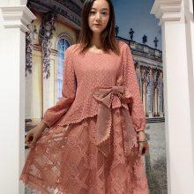 朵拉薇拉19新款秋装 刺绣镂空工艺连衣裙 华丽唯美女装 品牌女装货源一手批发