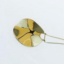 圆形项链,波纹吊坠,金色项链,光面项链