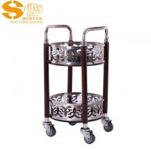 专业生产SITTY斯迪95.8107BH简约现代不锈钢加实木结构双层酒水车/服务车/手推餐车
