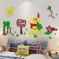 """3d亚克力立体墙贴""""卡通维尼熊""""儿童房卧室床头墙贴画i装饰墙贴"""