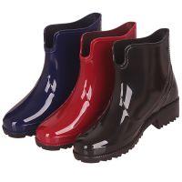 2018新款雨鞋女士时尚水鞋低跟女式雨靴厂家直销pvc纯色低筒-
