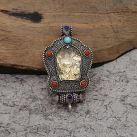 925银复古藏传宝石生肖守护嘎乌盒吊坠挂件  手饰定制直加工生产