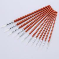 12支珠光木杆白色尼龙毛水彩笔 专业丙稀画笔套装 美术用品水彩笔