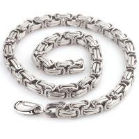 厂家直销跨境电商货源男士钢色钛钢不锈钢粗款节链项链拜占庭链