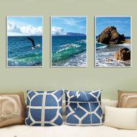现代简约客厅海风景装饰画卧室壁画沙发背景墙挂画轻奢大气三联画