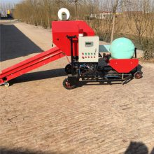 干湿芦苇秸秆全自动包膜机 牛羊驴饲料草打包机 柴油机带青贮打包机