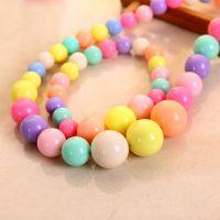 新款饰品春天色韩版儿童项链手链套装亚克力彩色塑料圆珠子直销